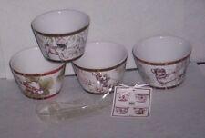 222 Fifth Wexford Red Tartan Plaid Pug Dachshund Snack Bowls Set of 4 New