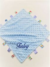 Personalised Baby Soft Dimple Comforter Taggy taggie tag  Blanket Boy Girl Gift