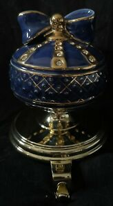 RARE! Frontgate Blue Rhinestone Encrusted Ornament Stocking Holder STUNNING!