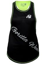 🦍UK L. Gorilla Wear Womens Florida Stringer Tank Top. Black neon Lime. New+tag.