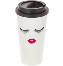 New Travel coffee Cup with Lid Eyelash lips - Black, White, Pink
