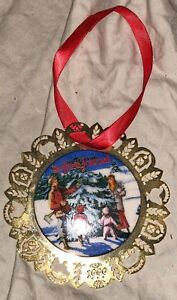 1999 NATIONAL FARM JOURNAL ORNAMENT PORCELAIN AND GOLD TONE METAL