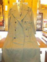 Vtg Army Marines Military Wool Trench Coat Vietnam Era Green Overcoat 1968