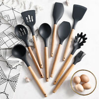 9x Piece Silicone Wooden Kitchen Cooking Utensils Set Tools Spatula Spoon