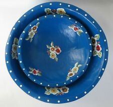 Lot of 2 Nesting Romanian Wood Bowl Folk Art Flowers Blue Hand Carved Painted