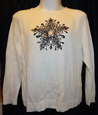 Woman 2X 20/22 Ivory Pullover Sweater Sequined Holiday Raglan Long Sleeve NWT