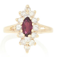 .68ctw Marquise Cut Ruby & Diamond Ring - 10k Yellow Gold Halo Size 1 3/4