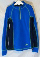 Boys Trespass Blue Neon Fleece Warm Funnel Zip Neck Jumper Sweater Age 5-6 Years