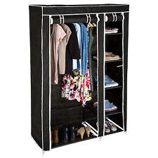 Armario doble de lona tela ropa organizador guardarropa ropero plegable negro