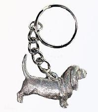 Basset Hound Dog Keychain Keyring Harris Pewter Made USA Key Chain Ring