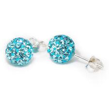 Genuine Sterling Silver 8mm Shamballa Crystal Ball Stud Earrings (Aquamarine)