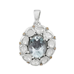 Oval 6X8 Mm Aquamarine Diamond Solitaire Accents 925 Sterling Silver Pendant