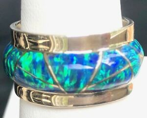 7.5 HEAVY SILVER Brazillian BLACK FIRE OPAL WIDE BAND RING  925 silver