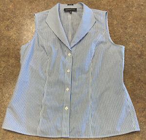 Jones New York Collection Women White Blue Stripe Sleeveless Cotton Shirt Size 8