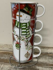 Pier 1 Imports Stacking Snowman Coffee Mugs Cups Set of 4 with Stand Christmas