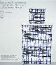 Bettwäsche 135 x 200 cm Renforcé 100% Baumwolle Blau Weiss NEU OVP