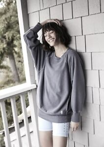Free People Movement Sweatshirt Pullover Better Days Oversized Gray Blue M NWT