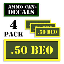 """.50 BEO Ammo Can 4x Labels Ammunition Case 3""""x1.15"""" stickers decals 4 pack AG"""