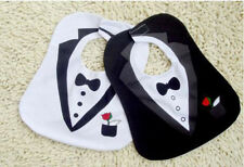 Set of 2 Tuxedo Gentleman Super Cute Baby Boy Layette Dressup Feeding Bibs