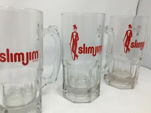 3 Slim Jim Brand Large 32 Oz Glass Beer Mug Heavy Clear Red Drinking Party Stein