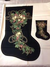 Vtg. Victorian MAGNONIA christmas fabric stocking panel Black