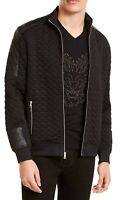 INC Mens Jacket Black Size 2XL Quilted Faux-Leather Full-Zip Mock-Neck $79 074