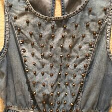 Hot and Delicious Denim Studded Mini Dress S Blue Jean Open Back Brass Studs