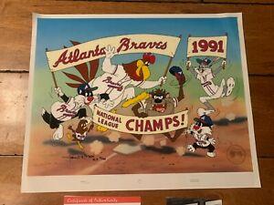 1991 Atlanta Braves CHAMPS LOONEY TUNES AP /20 Charles McKimson signed CEL RARE