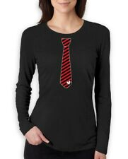 Red Stripes Heart Tie Love - Valentine's Day Gift Women Long Sleeve T-Shirt