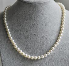 AAA round 4-4.5mm Natural white Akoya Pearl Necklace 17 inch 14K clasp