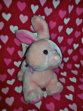 """90's 7"""" RUSS BERRIE Pink #167 Harey Bunny Rabbit NEW Tags Leaning back Easter"""
