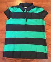 Ann Taylor Loft Shirt Cap Sleeves Top Blouse Women's Size Small Navy Blue Green