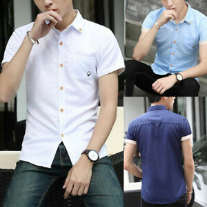 Summer Mens Short Sleeve Button Down Shirts Slim Fit Casual Holiday T-Shirts