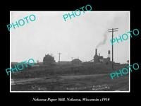 OLD LARGE HISTORIC PHOTO OF NEKOOSA WISCONSIN, VIEW OF THE PAPER MILL c1910