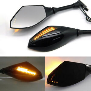 Black motorcycle rearview side mirrors w/ LED indicator for Hyosung GV650