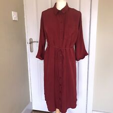Topshop Maternity Wine Red Belted Button Up Shirt Dress UK 10 US6