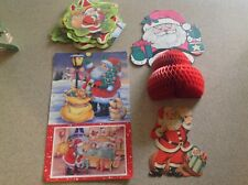 Vintage Christmas Cardboard Window and table Decorations Lot of 5