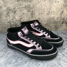 Vans Holder Mid Women's Black Pink White Suede Lace Up Sneaker Shoes Size 8.5