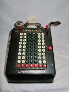 Vintage Smith & Corona Portable Hand Crank Adding Machine Serial H180406