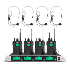 Pro Audio Wireless Microphone System Uhf 4 Channel 4 Lavalier Bodypacks Headset