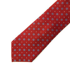 Geoffrey Beene - Mens Tie -100% Silk - Thick Woven Red Blue Circle Polkadot 8cm