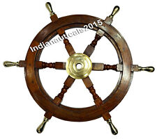 "Nautical Ship Steering Wheel Pirate Wooden 18"" Decor Wood Brass Wall Boat Gift"