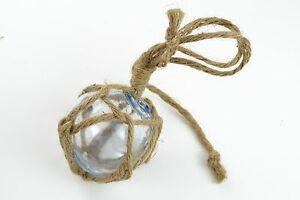 """REPRODUCTION CLEAR WHITE GLASS FLOAT BALL WITH FISHING NET 3"""" #F-901"""