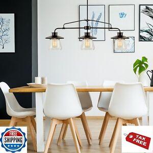 Farmhouse Pendant Light Fixture Ceiling 3 Lamp Kitchen Island Clear Glass Shades