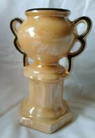 "Vintage Lusterware Vase Gold, Black Trim,Czechoslovakia,Dual Handled 5.75"" Tall"