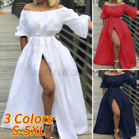 Womens Sundress Long Maxi Off Shoulder Cocktail Party Split Dress Gown Plus Size