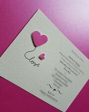 10 Personalised Love Heart Wedding day evening Invitations free envelopes