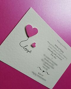 12 Personalised Love Heart Wedding day evening Invitations free envelopes