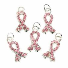 36 PINK Rhinestone RIBBON CHARMS pink awareness ribbon BREAST CANCER AWARENESS