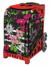 Zuca Petals and Stripes Insert Bag & Red Frame w/Flashing Wheels-Free Cushion